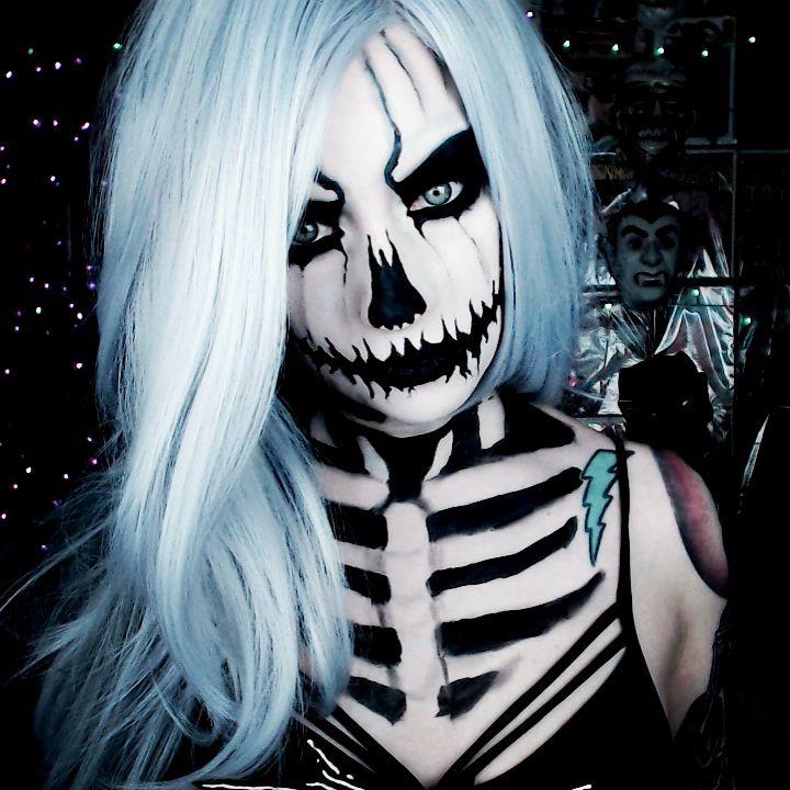 Skeleton makeup. Jack Skellington Cosplay. Crossplay. Halloween makeup. Monster Makeup. Horror. Pumpkin makeup.