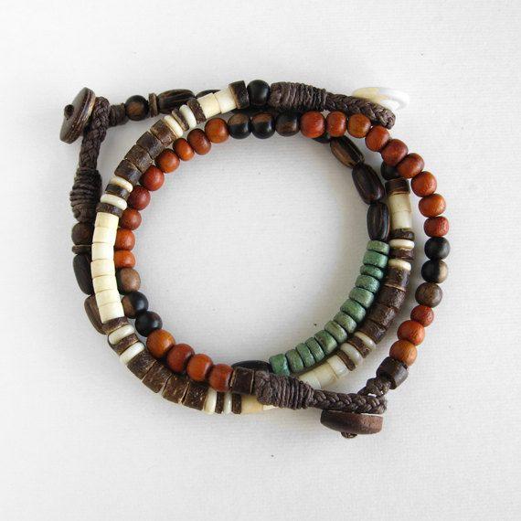 Pandora Mens Jewelry: Mens Beaded Bracelet Set, Red Orange, White Bone, Brown