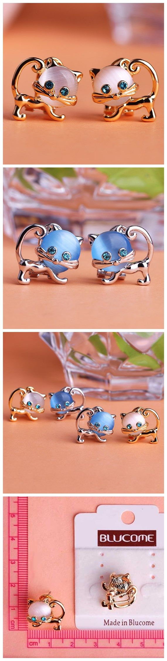 Cat Eyes Stone Kawaii Cat Stud Earring Only $9.90  => Save up to 60% and Free Shipping => Order Now! #Ring #Jewelry #woman #fashion  http://www.fancyjewelries.net/product/cat-eyes-stone-kawaii-cat-stud-earring/