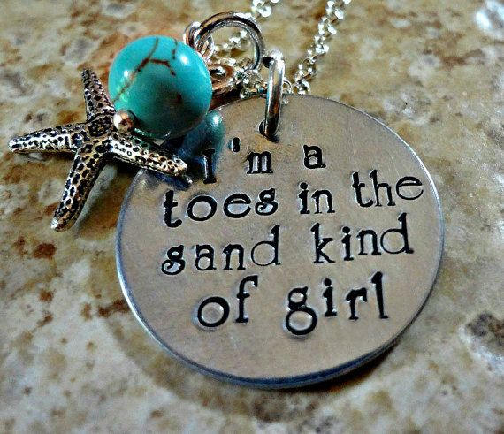 Hand Stamped Beach Necklace Toes In the Sand Girl by RoseCreekToo