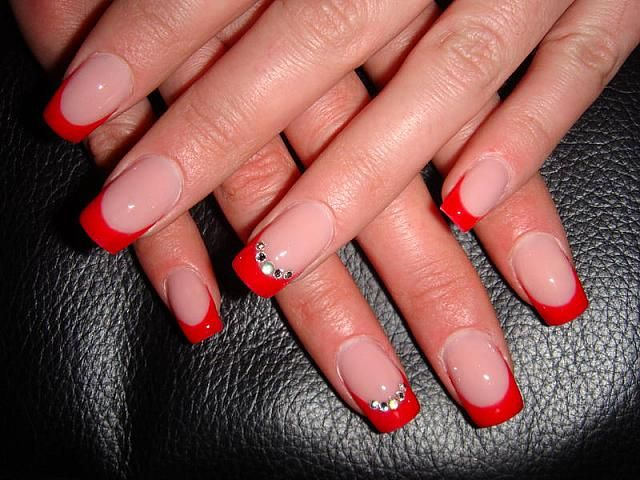 Bright Red French Manicure with Crystals