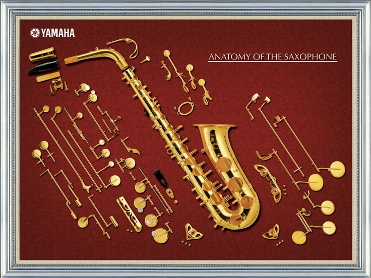 Anatomy of a Yahama Saxophone, union made by UAW local 19 in Michigan