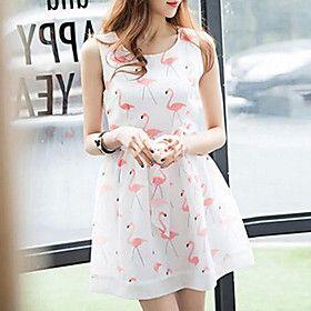 Women's Summer Printted Sleeveless Chifon Dress