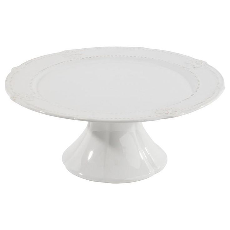 Stoneware footed cake plate in white color www.inart.com