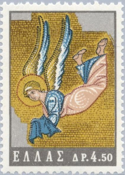 Stamp: Angel, Detail of Mosaic at Daphni Church, Attica (Greece) (Byzantine art)…