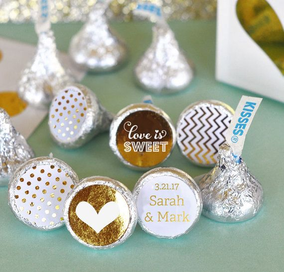 Wedding Candy Kiss Stickers will sweeten up your wedding celebration! Each candy kiss label set contains 108 stickers with a TRIO of designs - one