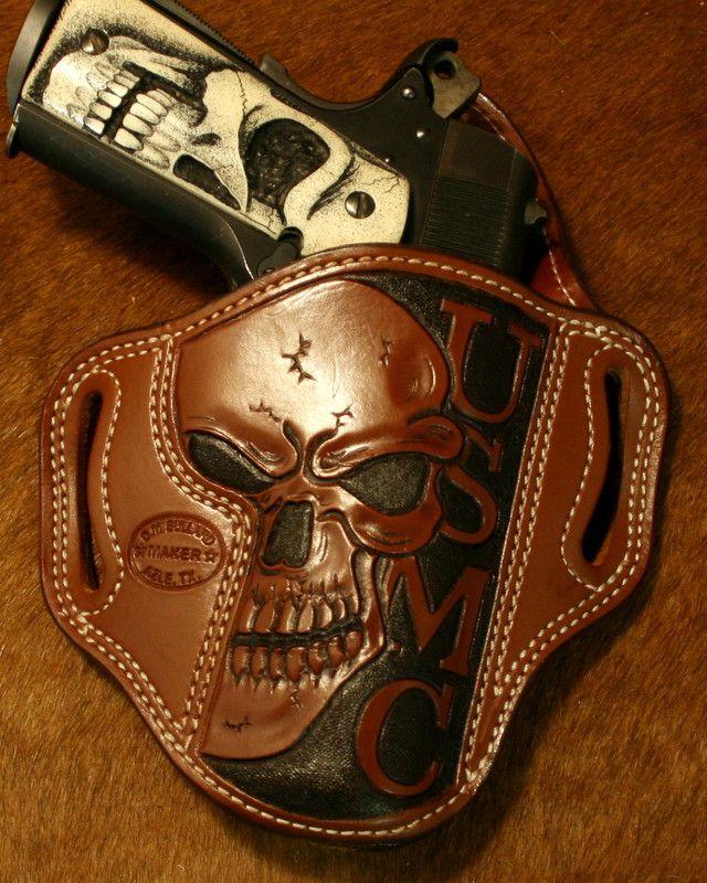 Colt 1911 with Skull Pistol Grips & Skull USMC Leather Holster.