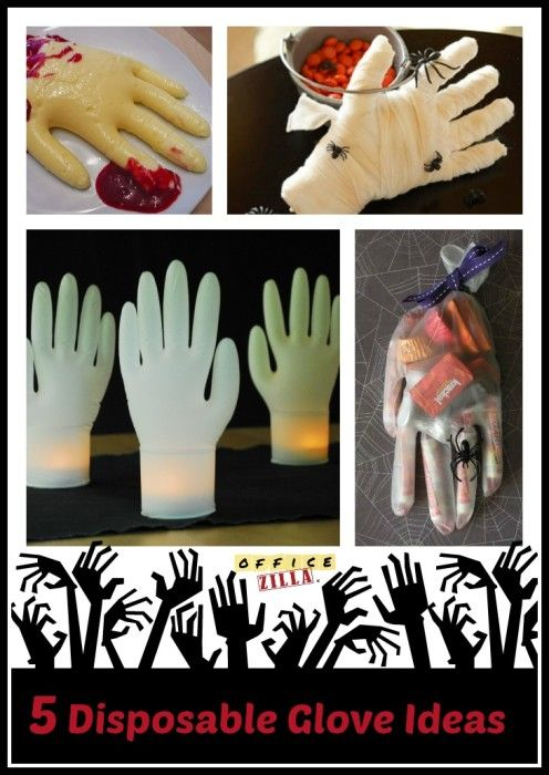 If you are hosting a Halloween party you will love these 5 Halloween disposable glove ideas! http://wp.me/p2Qhap-2aY #decor #office supplies