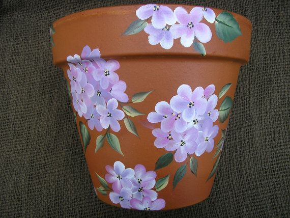 Hydrangeas Flower Pot Hand Painted por LisasPaintedCrafts en Etsy