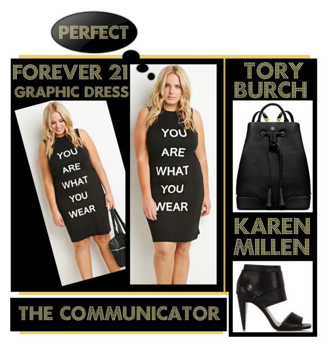 """""""The Communicator"""" by latoyacl ❤ liked on Polyvore featuring Forever 21, Karen Millen and Tory Burch"""