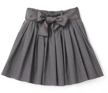 $41 Falda de gasa niña forma de bailarina - fruncida - exterior y forro de gasa - lunares hilo metalizado - CYRILLUS