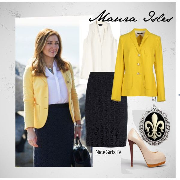 Maura Isles - Navy & Yellow by nicegirlstv on Polyvore featuring Mode, Theory, windsor., Sophie Hulme and Giuseppe Zanotti