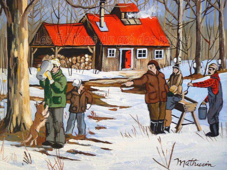 Cet autre tableau montre une cabane à sucres traditionnelle. À gauche, un homme boit de l'eau d'érable pleine de vertus, tout juste collectée.