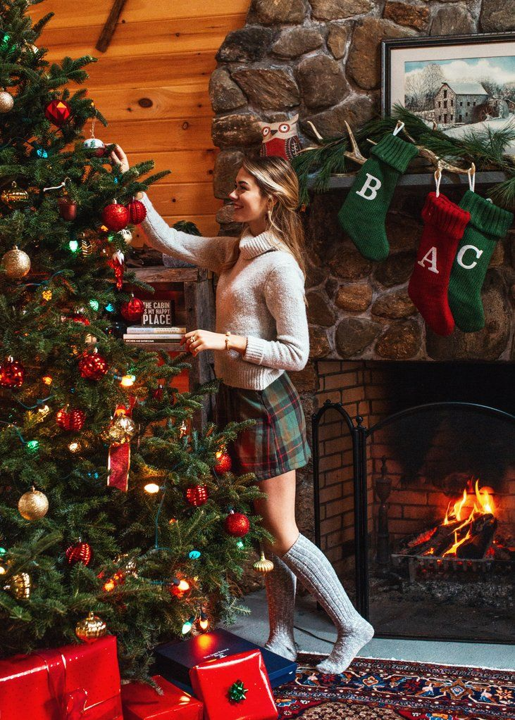 Cozy Christmas outfit by the fire #Christmasoutfit #Christmas