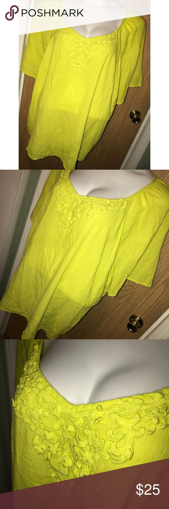 "Neon crochet front 34/36 top Super pretty neon yellow top with crochet detail on the front. Great used condition. 37"" from armpit to armpit, 31"" total length. Catherines Tops"