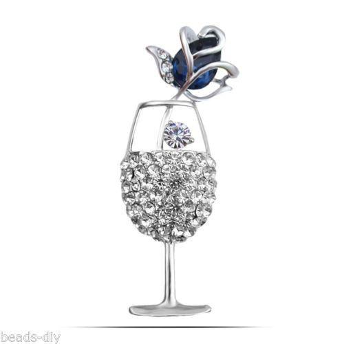 New Fashion BD Rhinestone Crystal Rose Goblet Brooch Silver&Blue Scarves Buckle