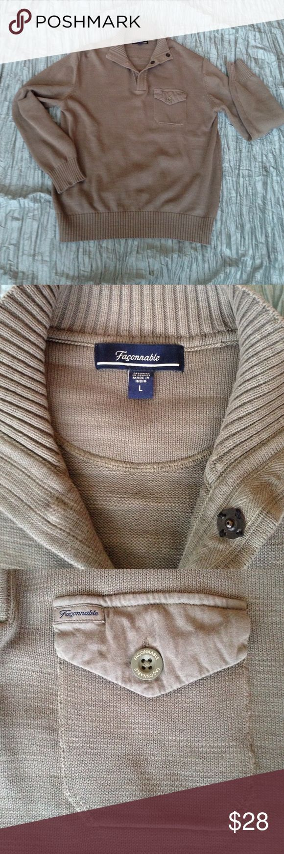 Façonnable sweater Classic sweater. Snap at neckline. A greyish Sage green. Designer quality. Façonnable Sweaters V-Neck
