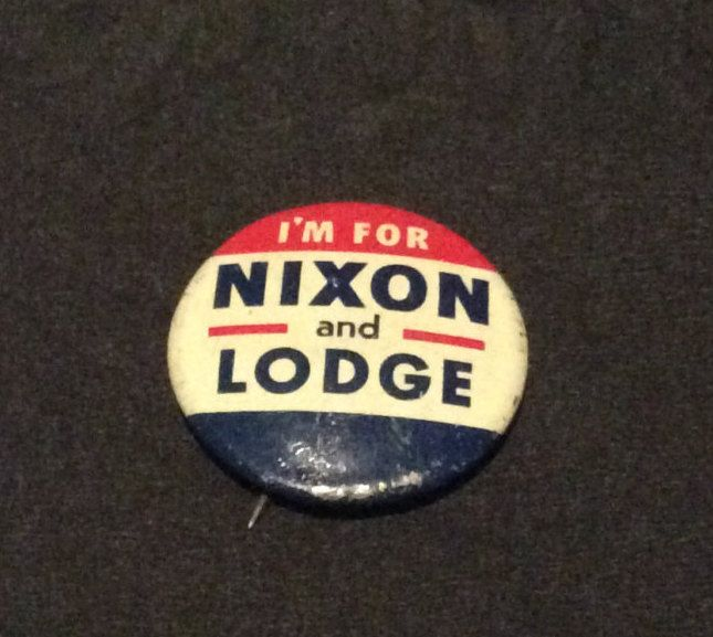 Vintage 1960 Richard Nixon and Henry Cabot Lodge Republican Campaign Pin Back Button by MargiesCoolStuff on Etsy