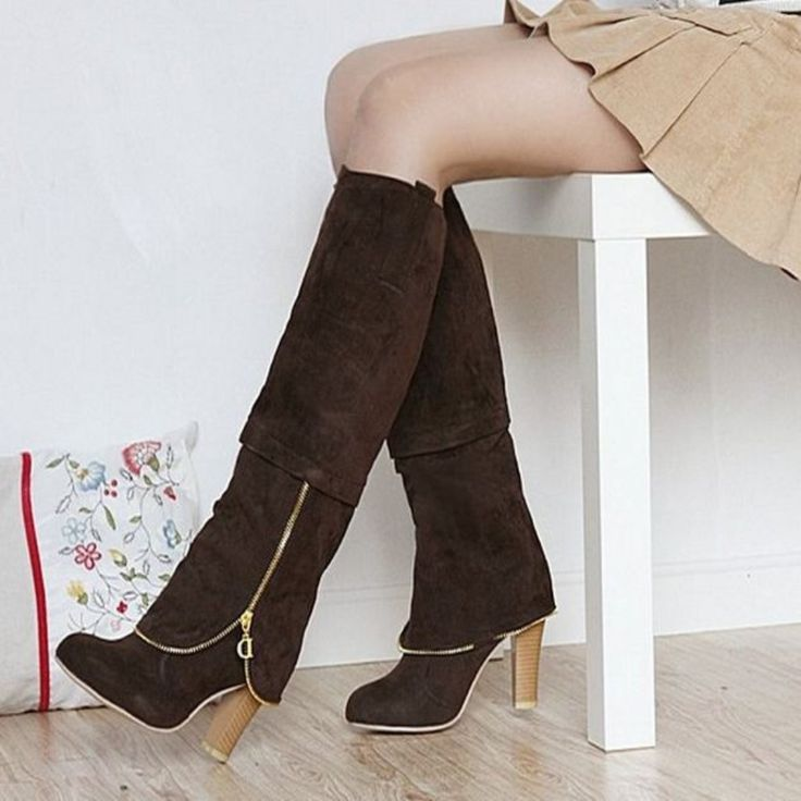 Sexy Zip Over Knee Square Heeled Winter Boots