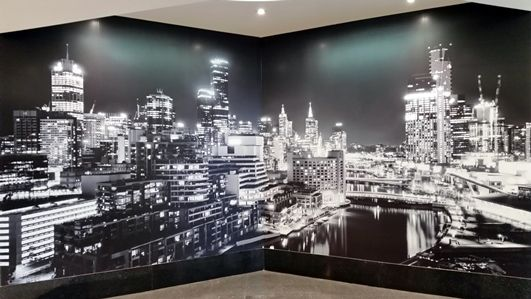 Vantage Property Investments recently installed this wall mural of Melbourne's skyline in their building in Box Hill - it greets people as the come off the elevator and looks fantastic!