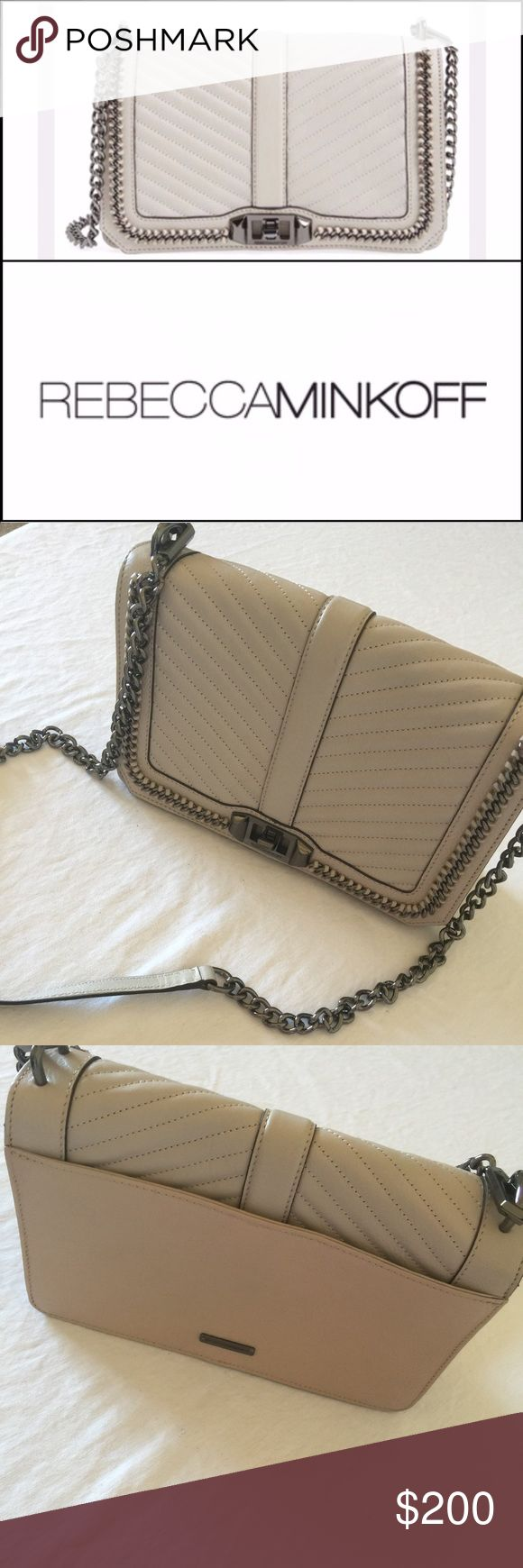 Rebecca minkoff, nwot, chevron quilted, ❤️crosbdy Rebecca minkoffs, popular...love crossbody bag in cemento color with gunmetal hardware, nwot. This bag was window display, and never worn. still has rebecca  minkoff care card, inside, handbag. season code written inside zipper pouch, not visible when purse is open. there is slight discoloration, as pictured, on back panel that lies against body, not facing out. no trades or lowball offers please. let me know if u want addnl photos. Rebecca…