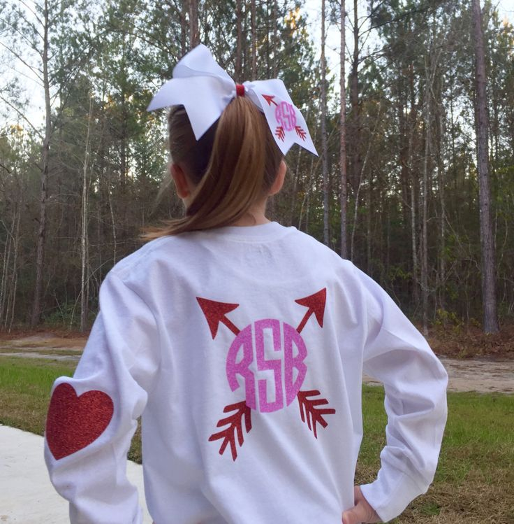 Monogram Valentine's day t shirt, Monogram Hair bow, Valentines hair bow, Valentine's Day t shirt, Arrow, Heart elbow patch sleeve by PoshPrincessBows1 on Etsy