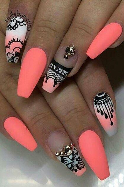 Neon matte nail art @nailslove_it
