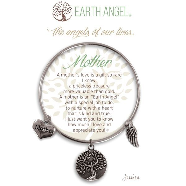 """Mother - Earth Angel Bangle - Silver - Earth Angels is a beautiful line of expandable charm bracelets created to thank, recognize and celebrate all the """"Earth Angels"""" who have positively impacted our lives. Each bangle comes in an gift box making it the perfect gift for your """"angel""""."""