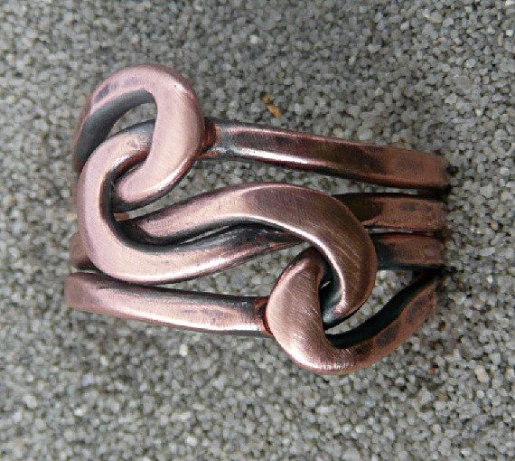 Knot ring, Lovers Knot,  Infinity Ring, Forged , 12 gauge Copper wire. $30.00, via Etsy.