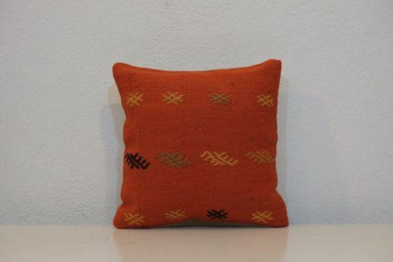 orange cushion cover kilim pillow decorative pillow by kilimci