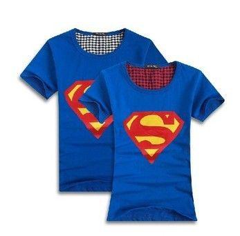 Nouveau superman 2014 amoureux vêtements. o cou t shirt manches courtes t- chemises en coton pour les couples tees, livraison gratuite