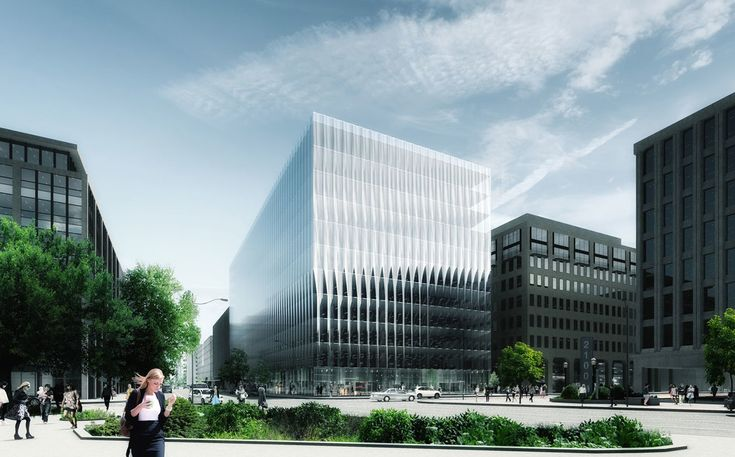 The unique glass also creates a new DC office type, one which combines the advantages of an all-glass building with the modulation of a high-relief façade befitting its context.