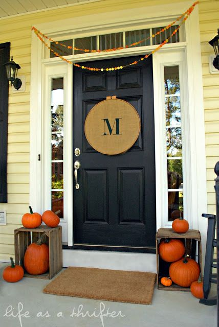 Fall decor instead of a wreath, wood hoop with monogrammed burlap