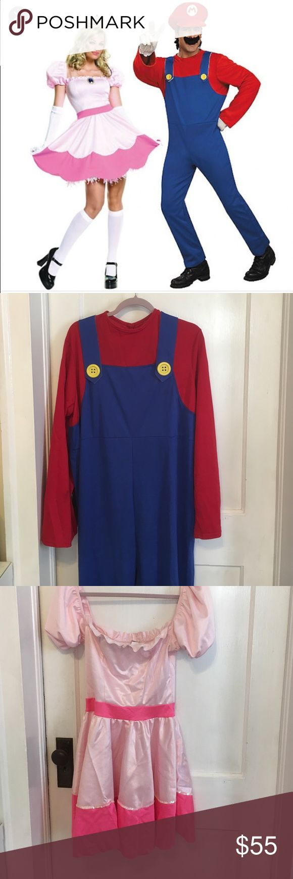 Mario and princess peach costume Couples costume worn one Halloween. Includes princess peach dress, Mario outfit and hat. Leg Avenue Other