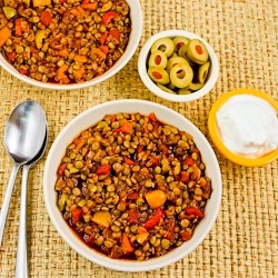 ... Vegan Picadillo Lentil Stew with Sweet Bell Peppers and Green Olives