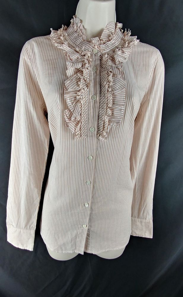 """~J. Crew. ~Ladies Size 4 – 36"""" around the bust. 24.5"""" around the waist. From the top of the shoulder, to the very bottom of the hem, the length is 26.5"""" long. ~Multi-color (beige & white) pinstriped, button down long sleeve shirt with ruffles around the neckline. 