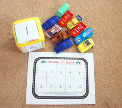 Parking lot game: Lots Games, Math Center, Dice Games, Lots Numbers, Cars Games, Numbers Games, Parks Lots, Teaching Numbers, Learning Numbers