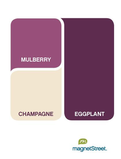 color palette: eggplant with mulberry and champagne - love this for the bedroom, with some light grey in there too!