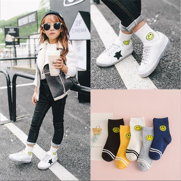 YWHUANSEN 5Pairs/lot Boys Girls Smile Face Socks Cotton Sport Short Socks For Children Popular Toddler Girl Socks Cheap-Socks