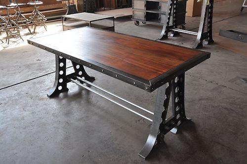 Vintage Industrial Desk Machine Base Dining Table | eBay