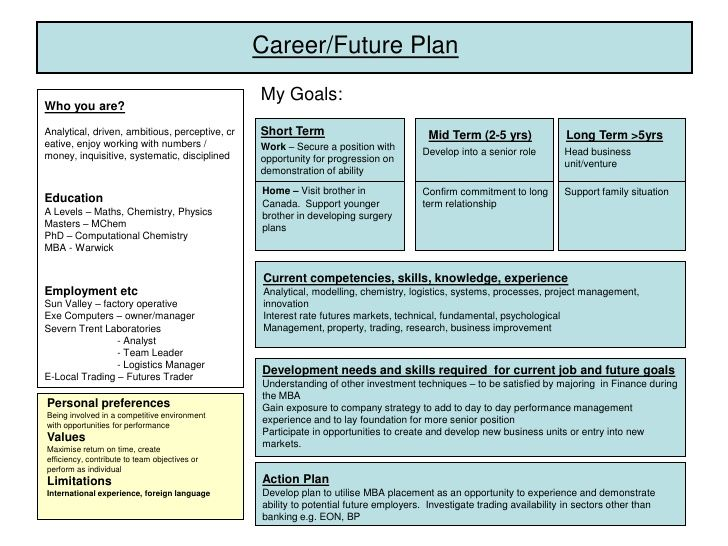 5 year career plan example