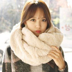 Chic Solid Color Faux Fur Chunky Scarf For Women