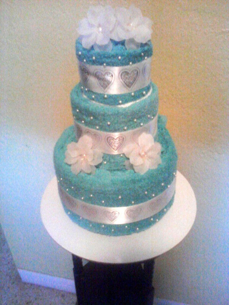 wedding cake makers new plymouth 3 tier aqua towel cake for bridal showers or weddings 23183