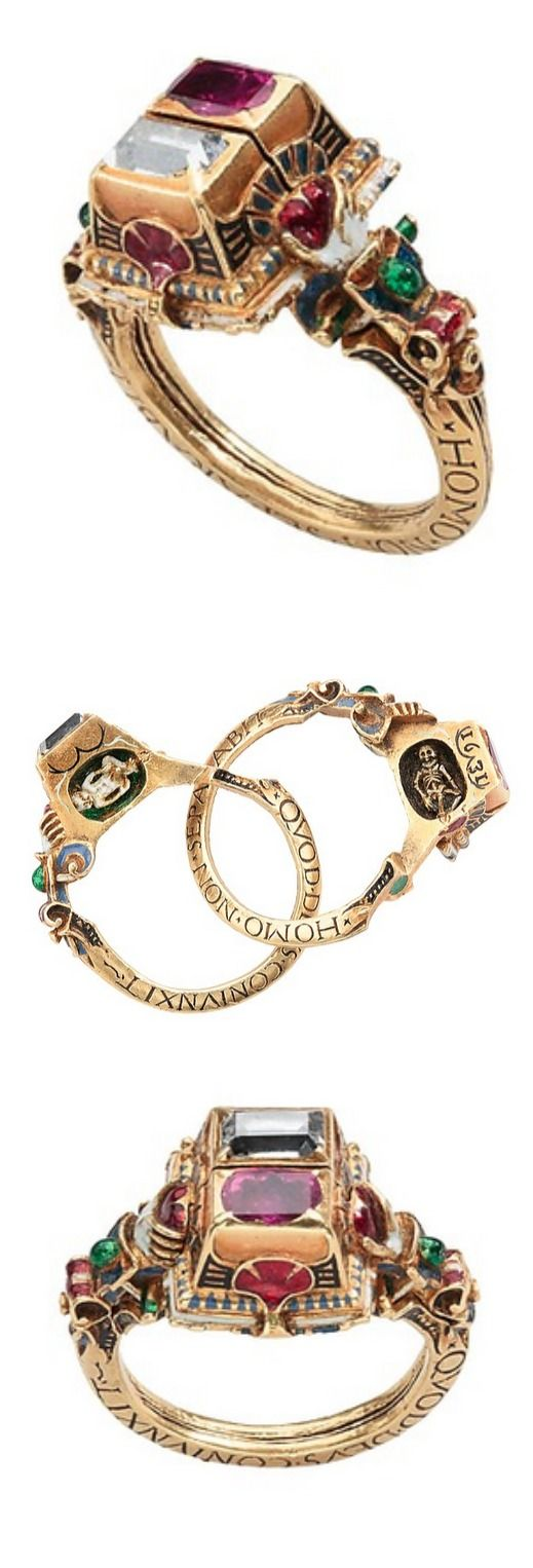Renaissance Gimmel Ring with Memento Mori Date: dated 1631 Culture: German Dimensions: Height 29.61 mm; exterior diam. 23.7 mm; bezel 14.25 x 12.18 mm.; Weight 13.75 grams