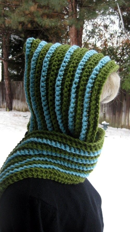 Stripped, hooded scarf