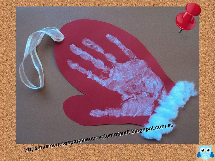 Recursos didácticos para la etapa de Educación Infantil: Postal de Navidad - manopla
