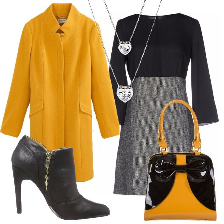 Un outfit elegante, che alterna colori classici, a forme e colori vivi ed accesi: cappotto di taglio dritto giallo miele, collo alto, tasche laterali, abbinato ad abito corto, molto particolare: bicolore nero e grigio, dall'effetto camicia e gonna. Tronchetto nero, punta tonda, cerniera, tacco a spillo, borsa stile anni '50 nera e gialla, abbinata per donare un tocco di originalità all'outfit . Doppia collana con cuori.