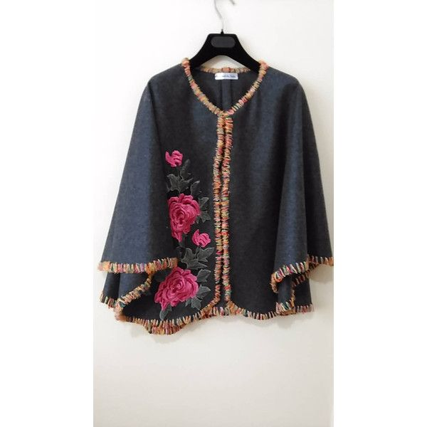 Gray Cashmere evening Jacket Floral Embellished Cloak Womens evening... (380 ILS) ❤ liked on Polyvore featuring outerwear and jackets