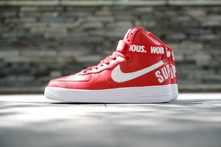 """Nice product shot at the Supreme x Nike 2014 Fall/Winter Air Force 1 """"Red"""" #sneakers"""