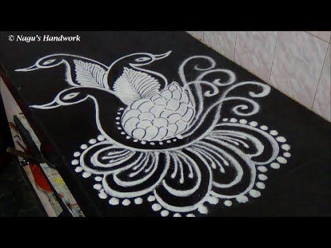 Free Hand Peacock Rangoli Design-Easy&simple Rangoli Design-Rangoli Design By Nagu's Handwork - YouTube